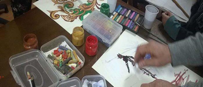 Laboratorio di pittura con i volntari dell'Hospice di Siracusa